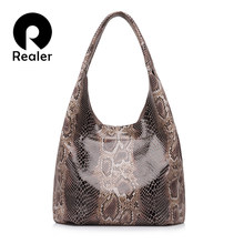 REALER genuine leather women handbags casual tote large capacity shoulder bag for women with serpentine prints classical designs(China)