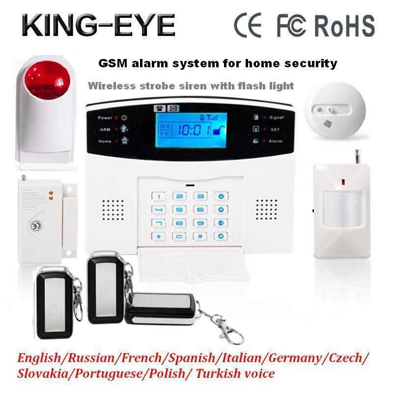 433 MHz Wireless LCD display intercom GSM alarm security system kit voice prompt with wireless smoke detector strobe siren wireless pager system 433 92mhz wireless restaurant table buzzer with monitor and watch receiver 3 display 42 call button