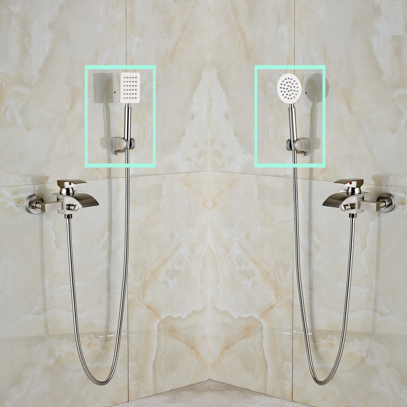 Luxury Wall Mounted Bathroom Brushed Nickel Shower Faucet Single Handle Waterfall With