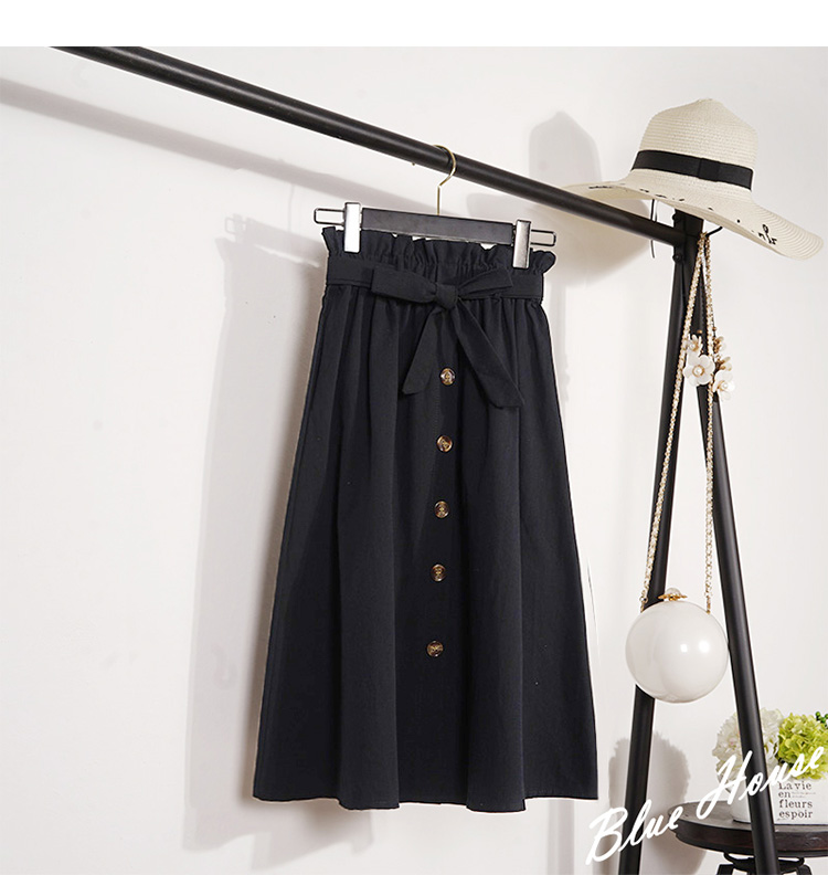 HTB1VkseXznuK1RkSmFPq6AuzFXaf - Summer Autumn Skirts Womens Midi Knee Length Korean Elegant Button High Waist Skirt Female Pleated School Skirt