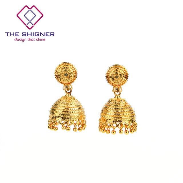 The Shigner Ethnic Indian Dazzling Golden Birdcage Jhumka Jhumki Earring India Clic Tribal Tradition Dangle Earrings