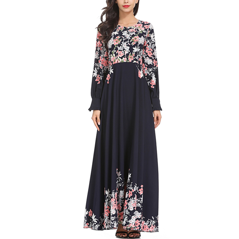 Vintage Women Floral Chiffon Dress 2018 Elegant A-Line Big Swing Muslim Evening Maxi Dresses Women Long Dress With Long Sleeves floral chiffon dress long sleeve