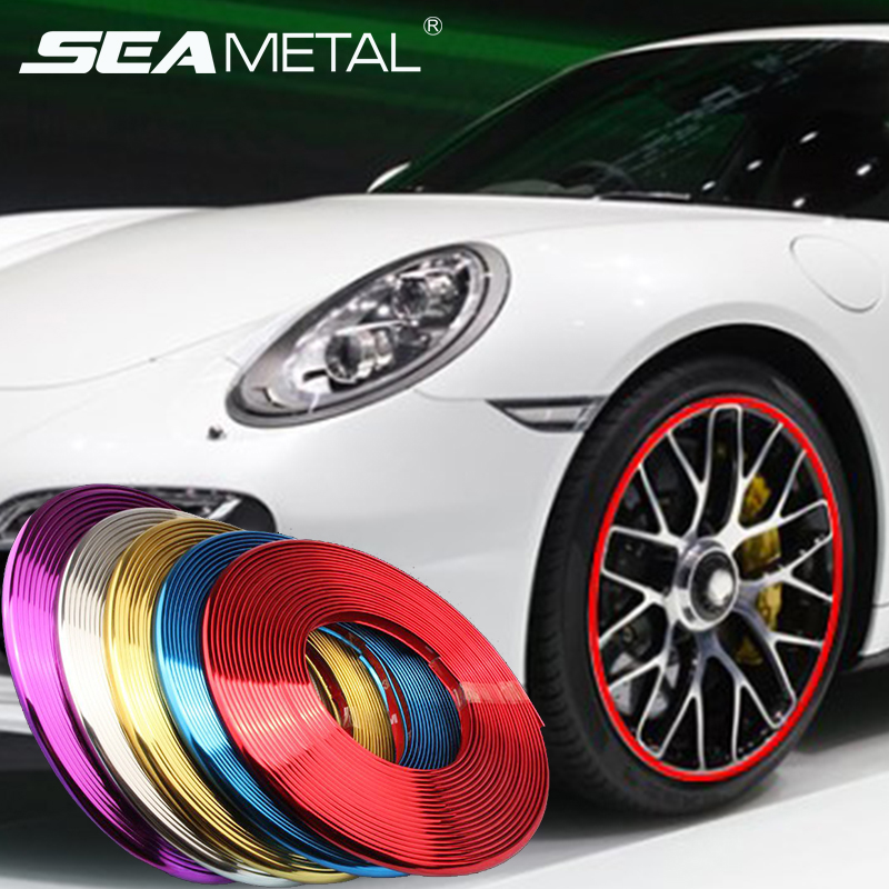 Universal Car Wheel Rim Stickers Chrome Autos Tire Rims Grille Clips Automobiles & Motorcycles Anti-collision Strips Accessories