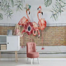 Decorative wallpaper Northern Europe small fresh leaf flamingo rural brick wall background
