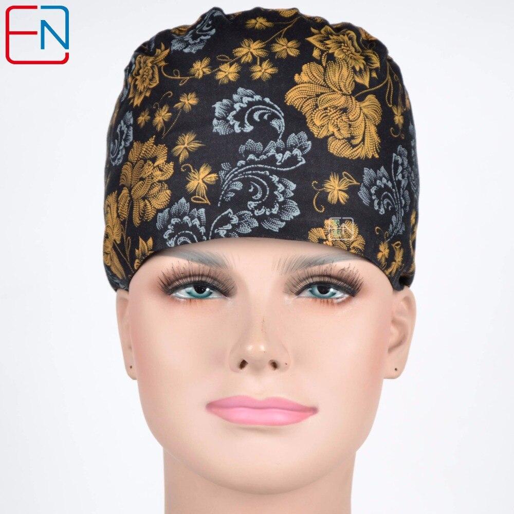 Hennar Surgical Scrub Caps 2018 Hospital Woman Doctor Medical Caps Mask Long&Short Hair Adjustable Print Nurse Medical Scrub Cap