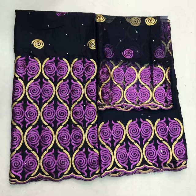 Thụy Sĩ 100% chất liệu vải cotton thêu với ren tissu africain brode coton vải thổ cẩm 5 + 2yds Voan Choàng khăn cho đầm