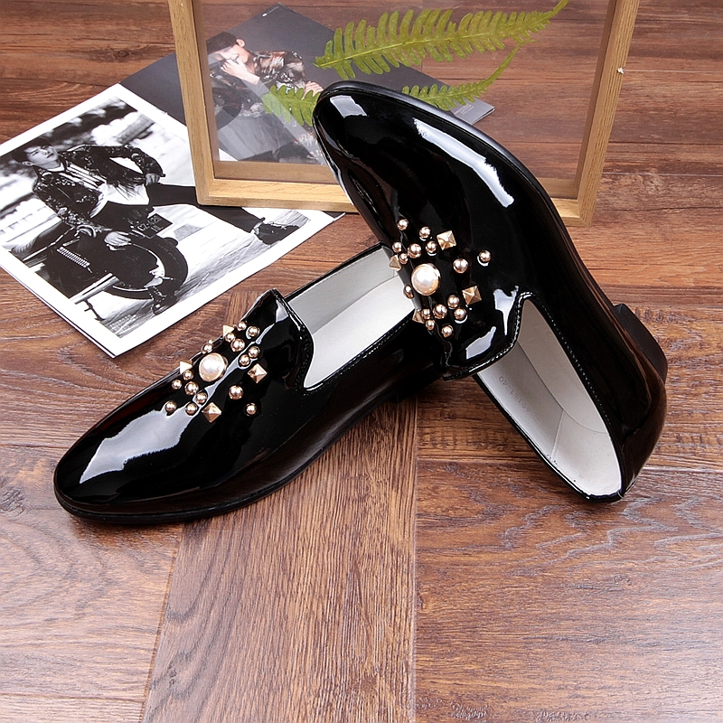 Fashion Gold Black Gray Mens Loafers Shoes Pearls Slip on Handmade Patent leather Driving Boats Shoes Flats Casual Mens Shoe Hot 2