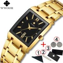 WWOOR Luxury Gold Square Analog นาฬิกาควอตซ์นาฬิกาผู้ชายนาฬิกาข้อมือกันน้ำ Golden นาฬิกาข้อมือชายนาฬิกาผู้ชายนาฬิกา