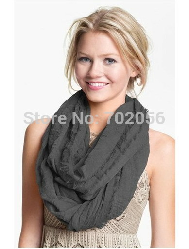 Módní solidní voile infinity šátek pro ženy módní dlouhé prstenné šály po celou sezónu uzavřeno 10ks / lot # 3818