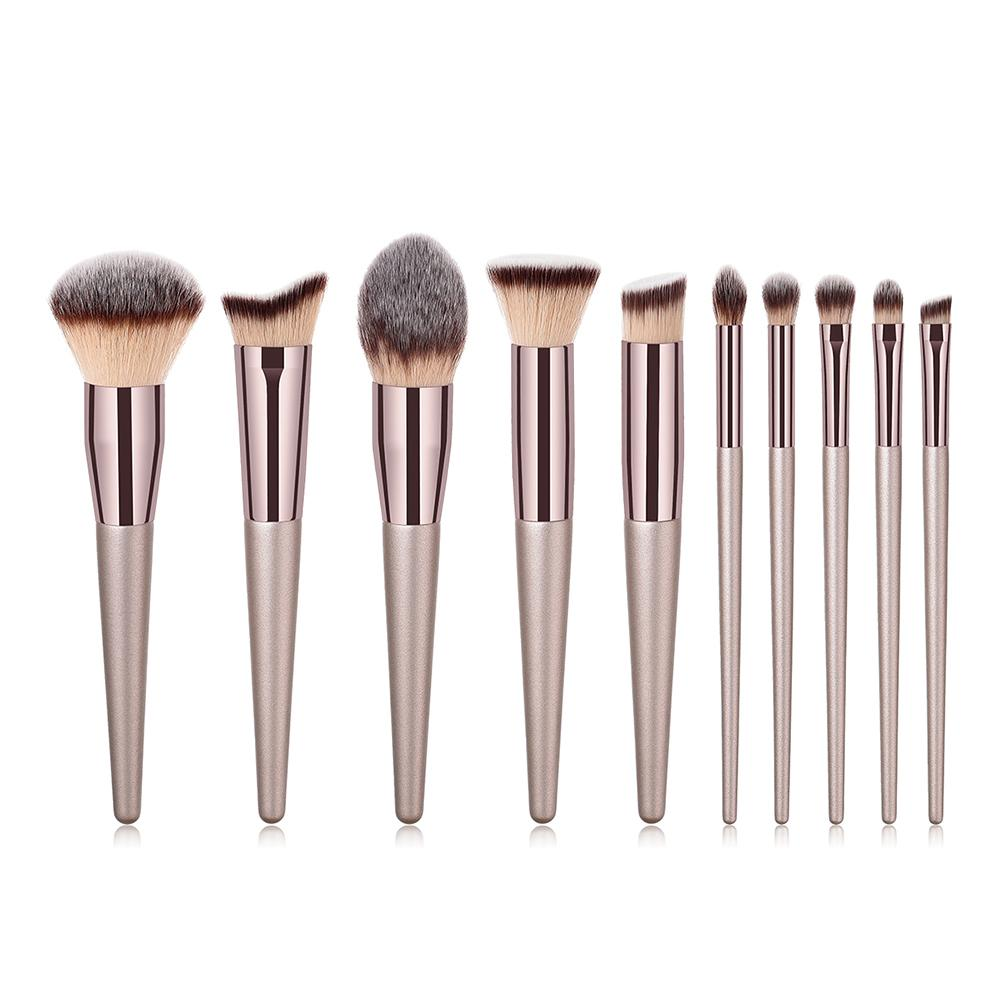 10PCS champagne Gold Makeup Brush Powder Blush Foundation Eyeshadow Make Up Fan Brush Cosmetic pinceaux maquillage