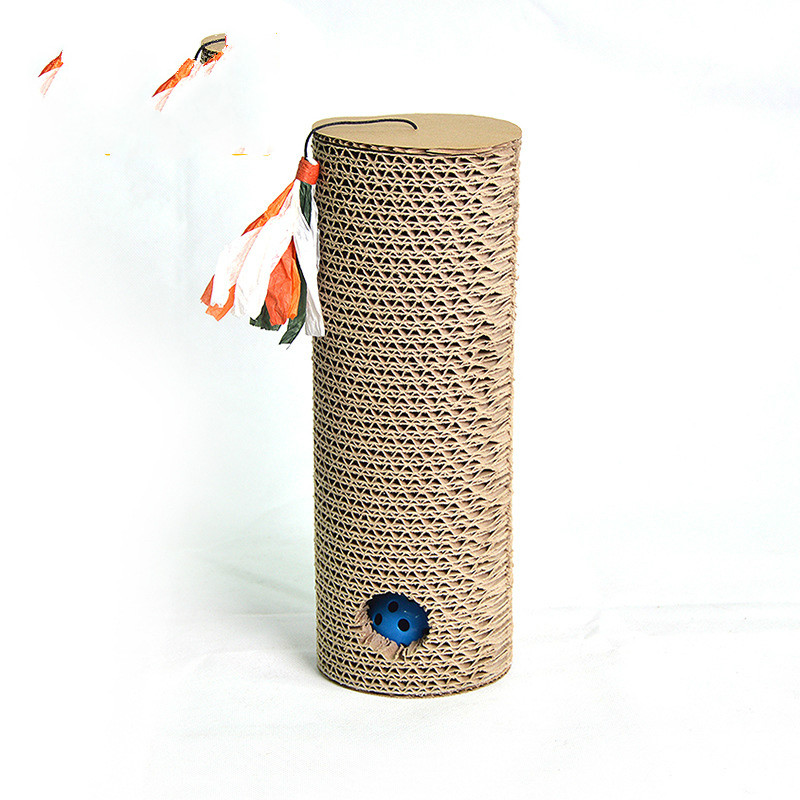 Cylindrical Shape Cat Scratching Post Scratch Board Scratche Toy Puzzle Rock Game Table With Ball