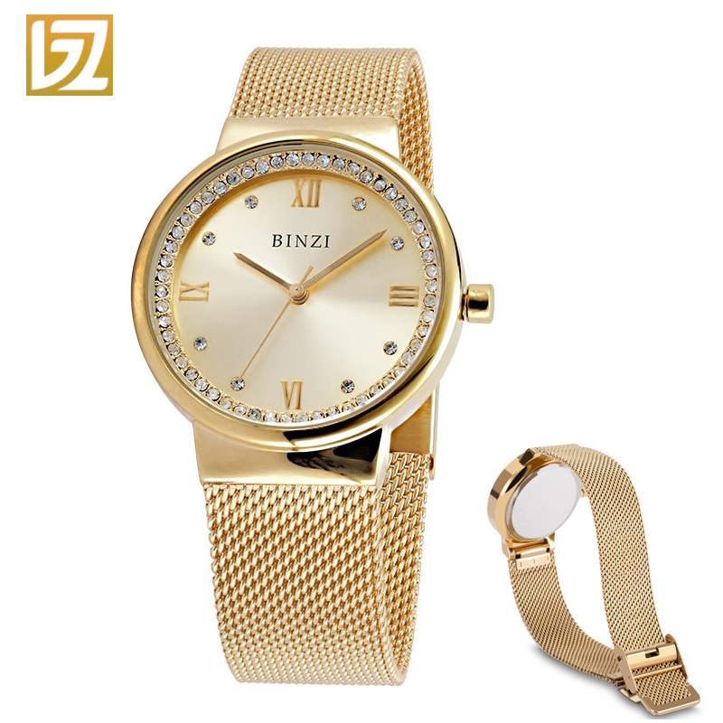 Women Watches BINZI Quartz Ladies Wrist Watch Clock relogio feminino montre femme Women's Rose Gold Silver Wristwatch 2018 New