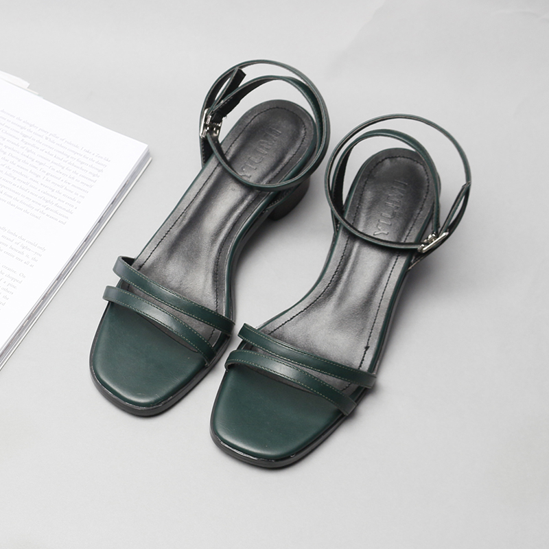 ФОТО Summer leather sandals shoes woman brief button thick heel low heeled vintage sandals Brand lady style shoes