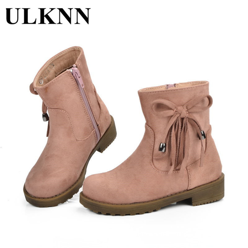 ULKNN Children Shoes Kids Boots For Girls Flat With Fur Plush Rubber Snow Boots in Winter Infant botas Mid-Calf Kids Girls Shoes 2016 new warm snow boots women plush winter mid calf boots fashion wedding shoes brand lady botas flat shoes
