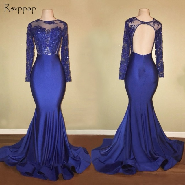 94ae929d7009 Long Prom Dresses 2019 Gorgeous Sheer Scalloped Long Sleeve Top Lace  Backless African Royal Blue Mermaid Prom Dress