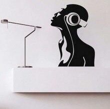 Free Shipping Headphone DJ Music Room Art Wall Sticker Vinyl PVC removable Home Decal Decor KW-163