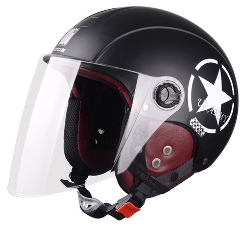 Motorcycle Helmet Half Open Face scooter halmet motocross vintage casque Adjustable Size Protection Gear Head Helmets 54cm-61cm Islamabad