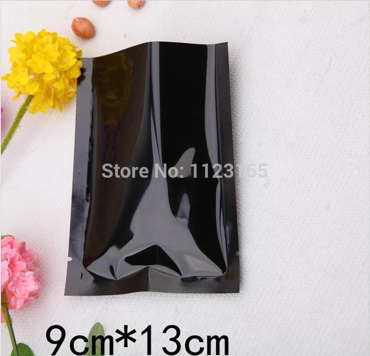 9X13CM, 200pcs x Heat seal proof Aluminum Foil bag, Black Aluminized Plastic Packing pouch With Tear Notch, plating Foil Pouches