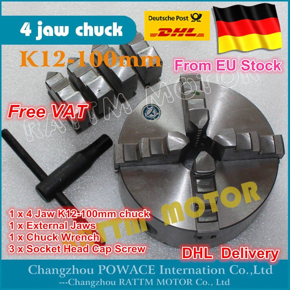 DE bateau gratuit TVA Manuel mandrin Quatre 4 jaw auto-centrage mandrin K12-100mm 4 jaw chuck Tour De Machine-outil chuck