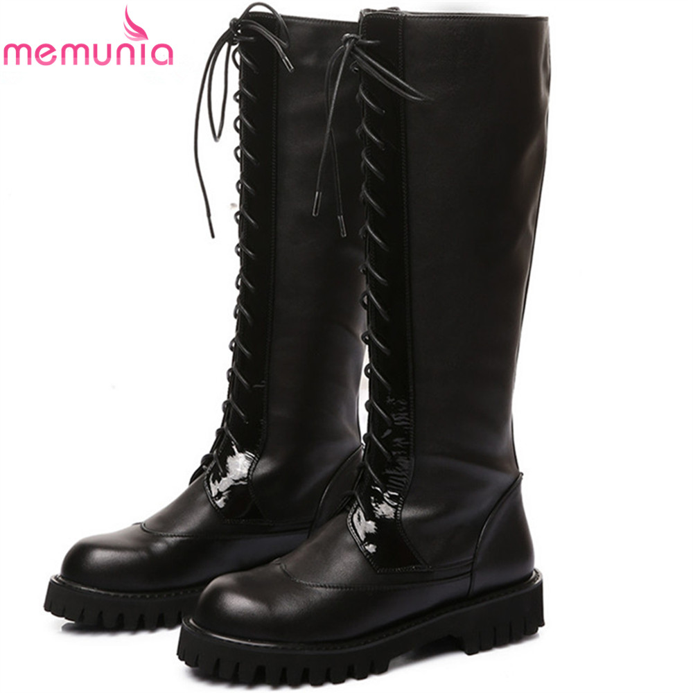MEMUNIA big size 34-43 women boots round toe lace up genuine leather+PU ladies boots square heel cow leather knee high boots high quality full grain leather and pu mixed colors boots size 40 41 42 43 44 zipper design lace up decoration round toe boots