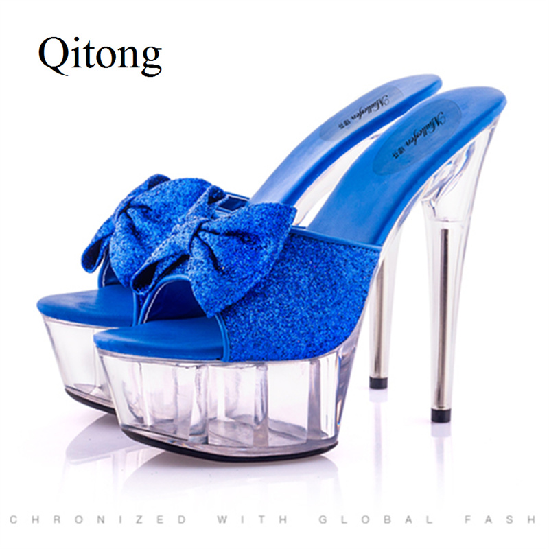 2017 Euro Size 34-44 Qitong PU Woman Thin Ultra High Heel Platform Slipper and Sandals Nightclub Womens Shoes Sexy Beach Shoes euro size 34 44 pu woman 15 and 17cm high heels platform sandals nightclub woman high heeled birthday party shoes for t station