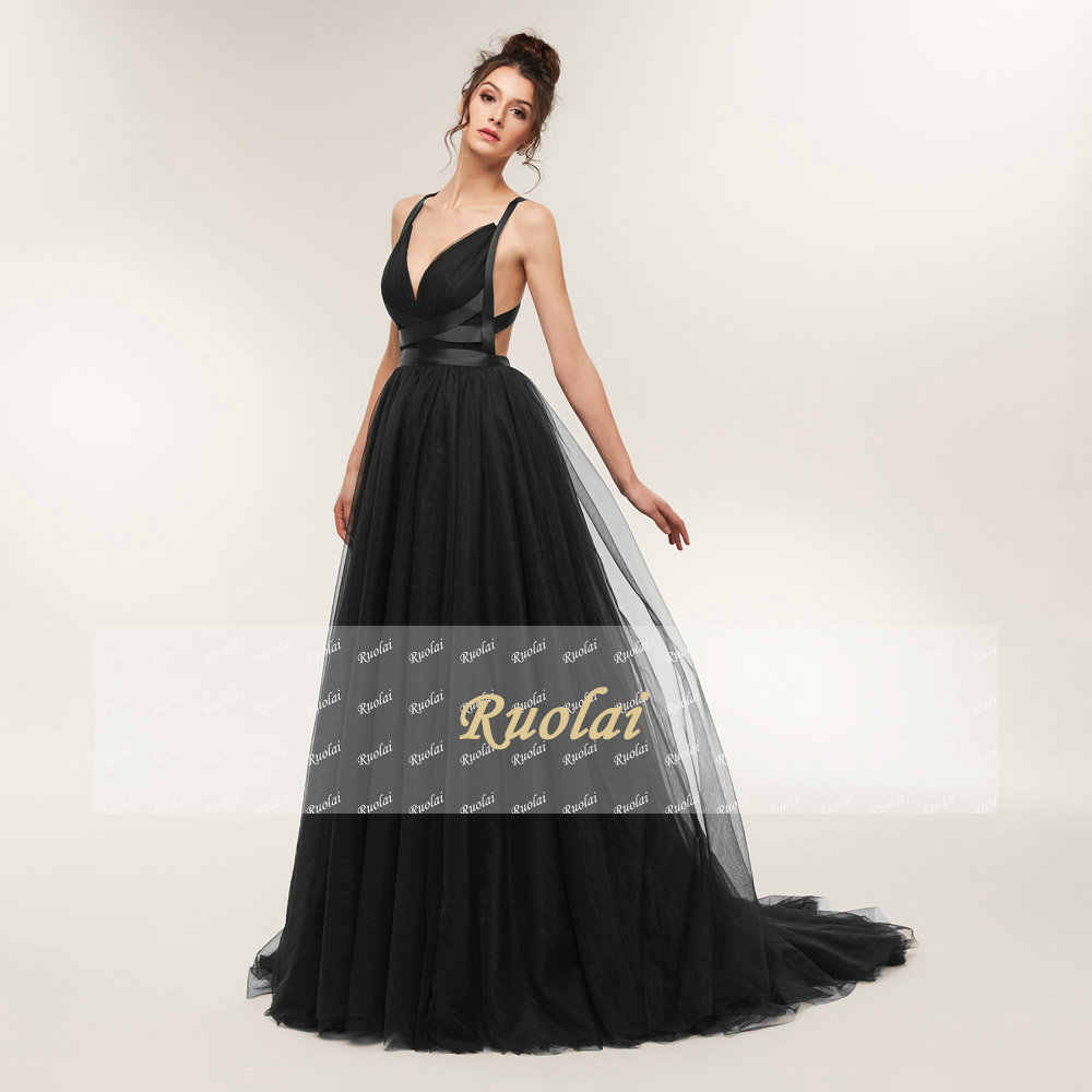 76709f681 ... Sexy Black Evening Dresses 2018 Long Train V Neck Tulle Evening Gown  Formal Party Dress Crossed ...