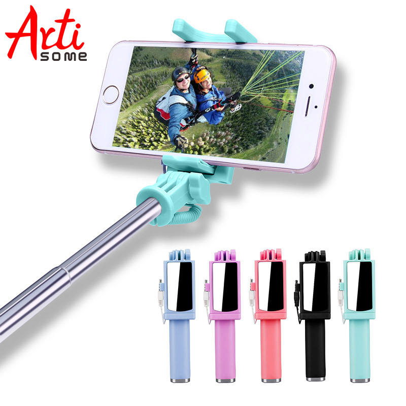Universal Selfie Stick For iPhone 5 5S SE 5C 6 6S Plus Monopod Wired Mini Sport Selfie Stick For IOS Androic Perche Selfi Stick