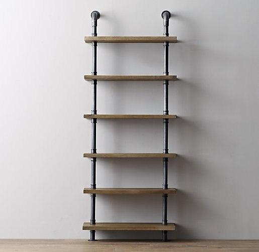 Speciale amerikaanse land om de oude ijzeren buizen boekenkast plank ...