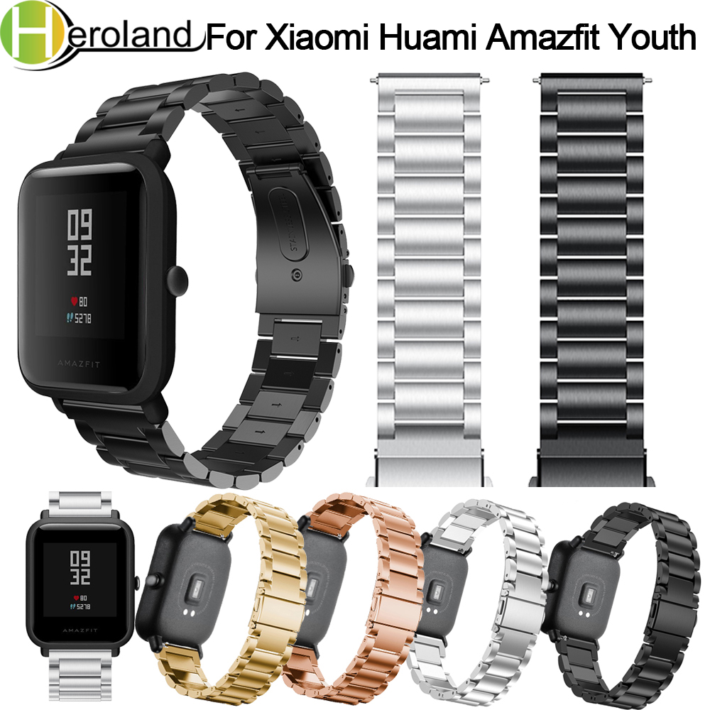 Strap For Xiaomi Huami Amazfit Bip Youth Smart Watch 20mm Bracelet Wrist Band For Huami Bip BIT Lite Strap Metal Stainless Steel