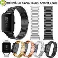 Correa para Xiaomi Huami Amazfit Bip jóvenes reloj inteligente 20mm pulsera de muñeca banda para Huami Bip poco Lite de la correa de Metal de acero inoxidable