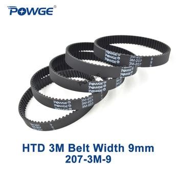 5pcs timing belt 384 12 3m 12mm width 384mm length POWGE 5pcs HTD 3M Timing belt 207 3M 9 Pitch length=207mm  width 9mm Teeth 69 Rubber HTD3M synchronous belt 207-3M-9 closed-loop