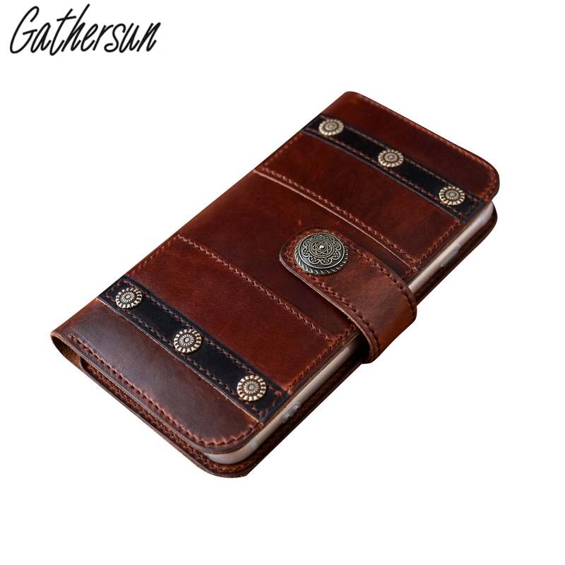 Gathersun Brand Handmade Original Vintage Style Genuine Leather Wallet Men Purse Cell Phone Case For Iphone7/iphone7plus