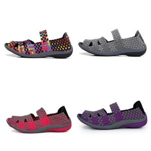 Image 3 - STQ 2020 Thu Đế Phẳng Giày Xăng Đan Nữ Dệt Giày Đế Bằng Nữ Đa Màu Sắc Trơn Trượt Trên Giày Sandal Nữ Thương Hiệu Cho Nữ 812