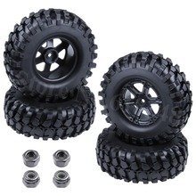 "4x Rubber 108mm 1.9"" Rock Crawler Tires Tyre & Wheel Rim Hex 12mm For 1/10 Scale RC Car Tamiya CC01 Exceed"