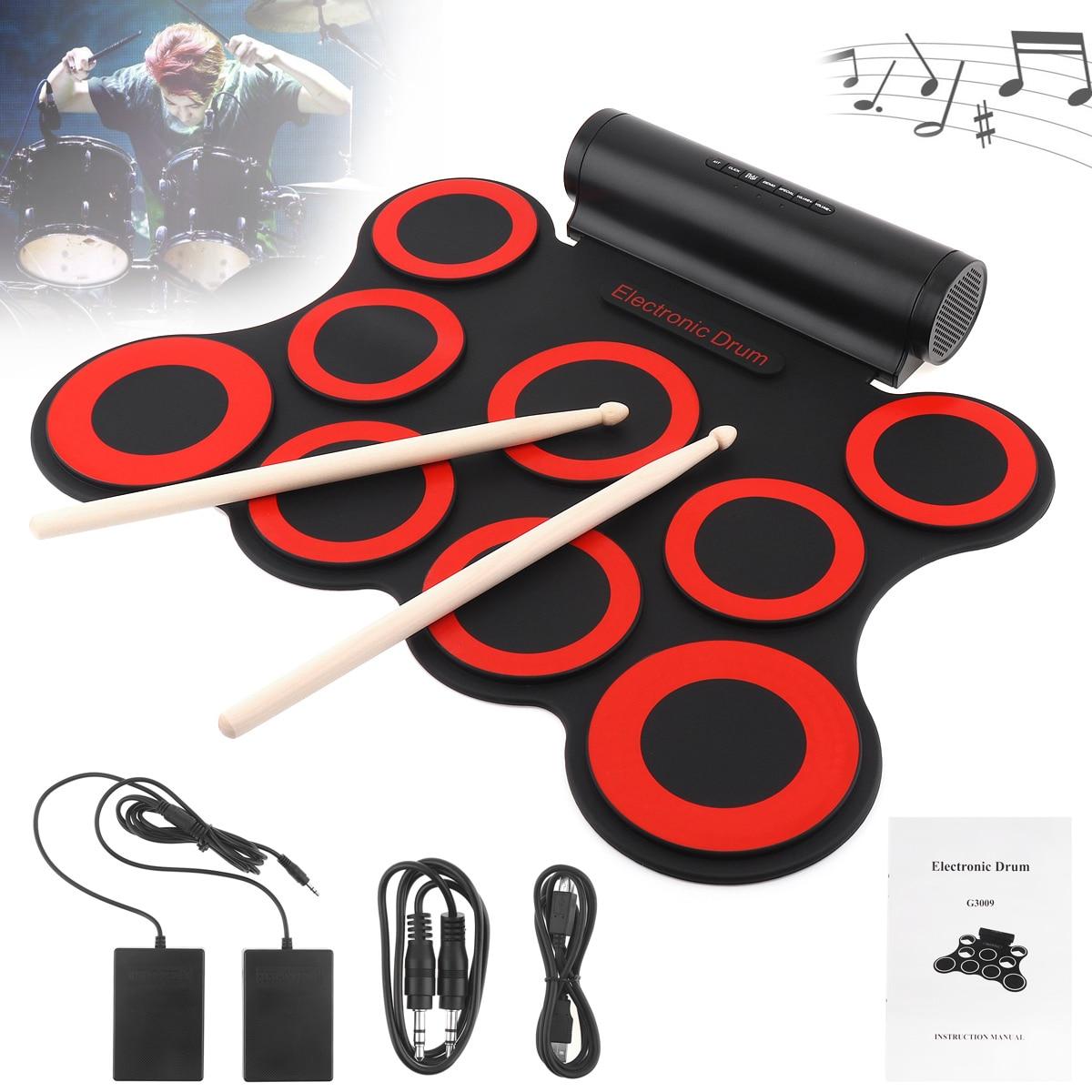 9 tampons électroniques enroulables en Silicone MIDI tambour Double haut-parleurs stéréo Kit de batterie électrique avec baguettes et pédales de maintien