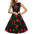 2017  Sleeveless Knee Length Max Dress Slim Bodycon  Printing Autumn Black \blue Rose Women Dresses  Vestidos Stylish