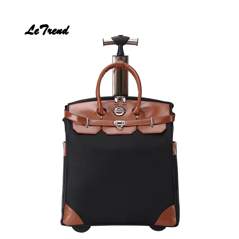 Letrend Handle Travel Bag Women Oxford  Trolley Computer Rolling Luggage Spinner Men Carry On Suitcases Wheel Cabin Luggage letrend oxford red rolling luggage suitcases on wheel men business trolley spinner fashion cabin luggage travel bag soft trunk