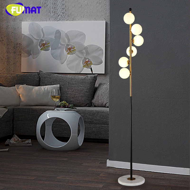 FUMAT Indoor Lighting Art Deco Spiral Glass Ball Floor Lamp White ...