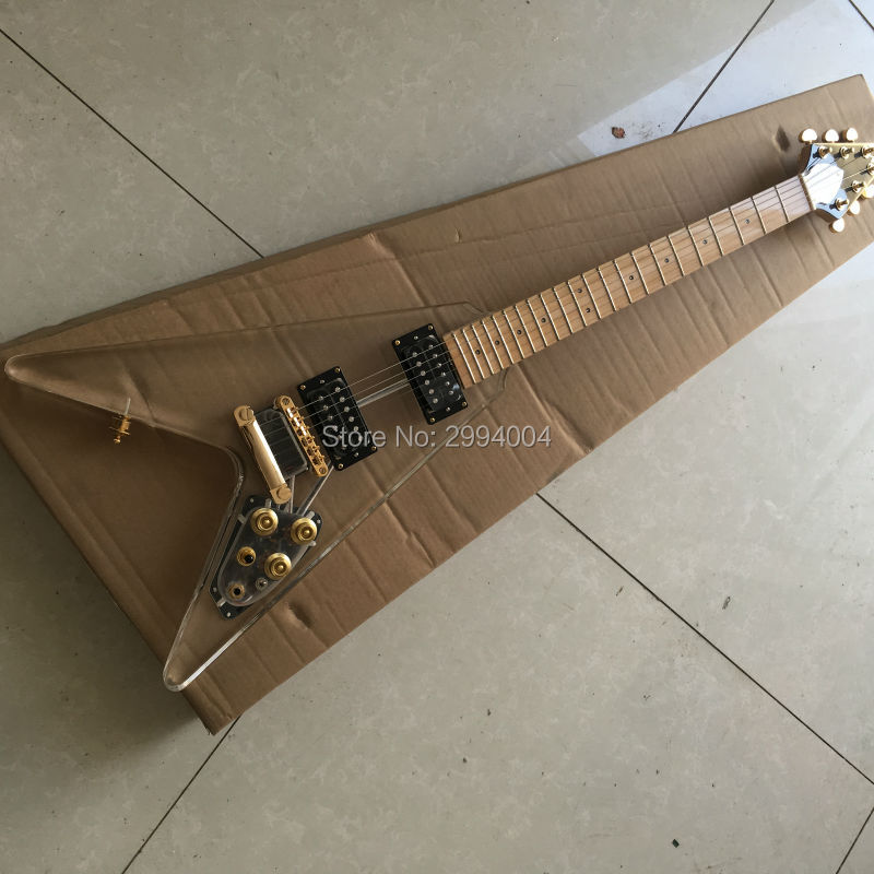 High Quality Acrylic Electric guitar, Flying V shape with LED Light, Gold Hardware -Wholesale The factory wholesale and retail free delivery of high quality custom shop electric guitar black hardware ebony bound lp guitar wholesale and retail real phot