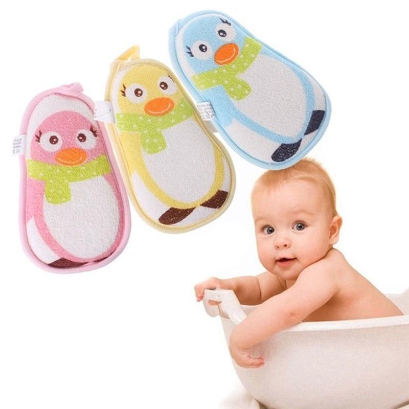 Baby Towel Accessories Little Penguin Infant Shower Faucet Bath Brushes Sponge Cotton Rubbing Body Wash Child Bath Brushes