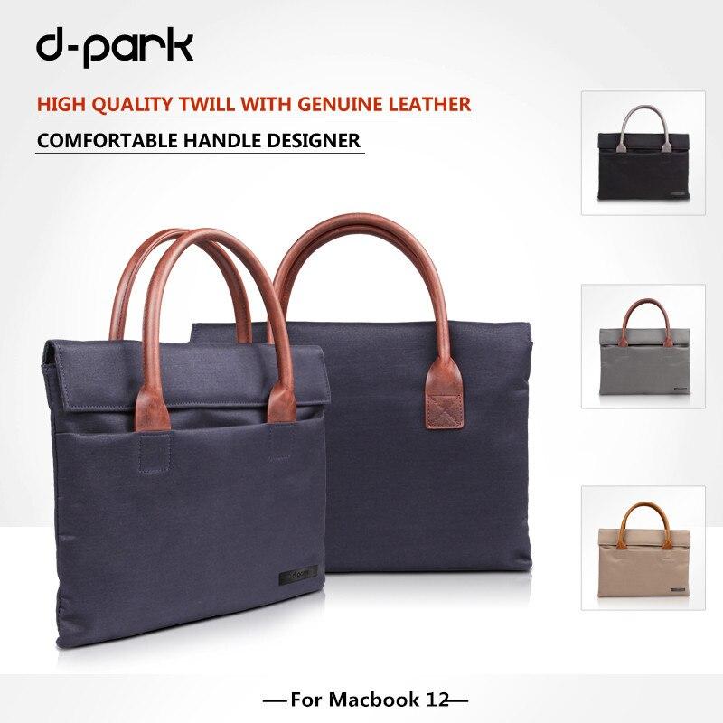 D-park nouveau sac à main Oxford tissu et cuir véritable étui pour ordinateur portable sacs pour Apple Macbook 12 pouces, pochette pour ordinateur portable 12 pouces