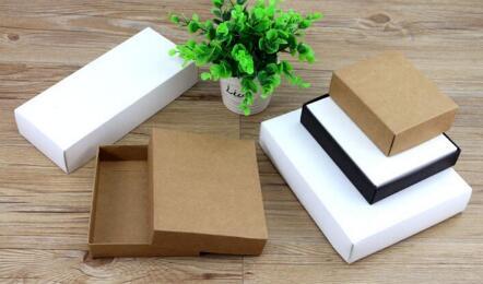 10 sizes Kraft black white gift packaging box kraft blank carton paper gift paper box with lid Gift carton cardboard box