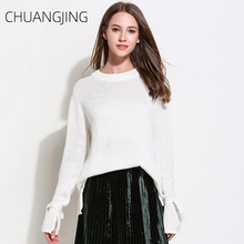 Autumn Casual Knitted Sweater Women Winter 2019 Solid O-neck Loose Long Sleeve Pullovers Plus Size Sweater Ladies Sweet Sweater
