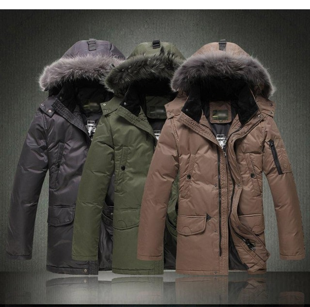Man with hat really fur collar brand jacket fashion winter men's jacket with 90% white duck's down W005