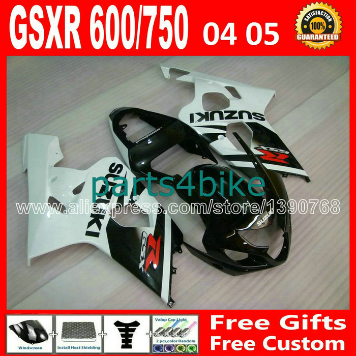 ABS plastic for 2004 2005 bodywork SUZUKI GSXR 600 750 fairing K4 RIZLA version white black gsxr600 WXH GSX  R750 04 05 496