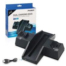 Base del cargador de la estación de carga del controlador con el cubo del USB para y el estante del almacenamiento de discos del juego para la consola PS4/PlayStation 4