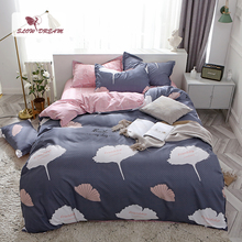 SlowDream Bedding Set Leaf Pattern Nordic Bedspread Pink Bed Flat Sheet Pillowcase Duvet Cover Linings King Bedclothes