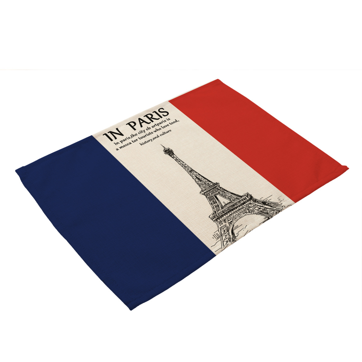 Romantic French Architectural Printed coasters Table Mat Paris Tower Pisa Leaning Pattern Placemat Telephone Booth Red Table in Mats Pads from Home Garden
