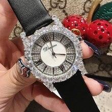 Модные серебристо-белые циркониевые римские женские часы индивидуальный кожаный ремешок для часов часы с бриллиантами