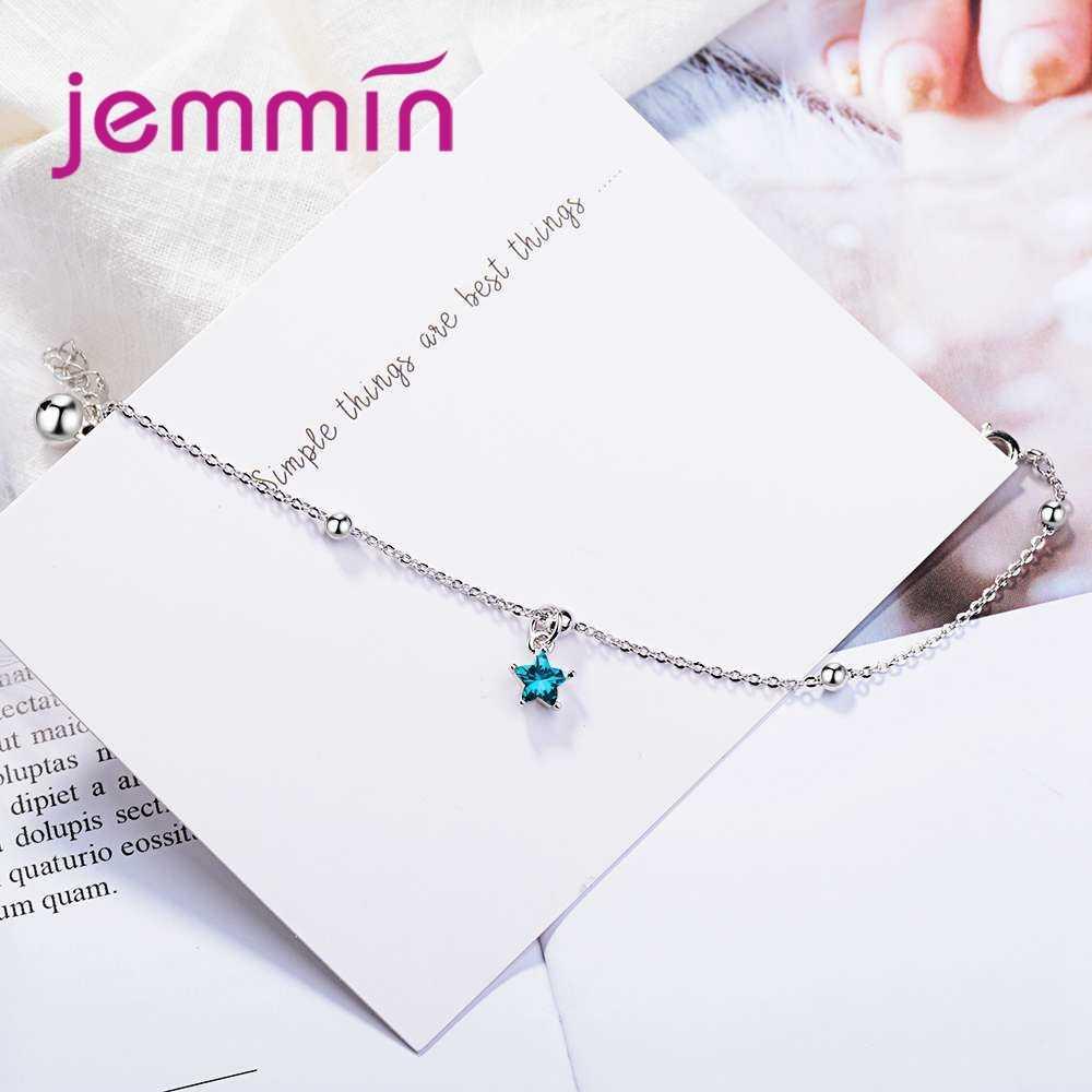 Nuevo atractivo 925 Plata de Ley Super brillante azul forma de estrella diseño colgante pulseras para mujer joyería al por mayor